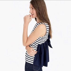 NWT J.Crew striped blouse with bow, size L